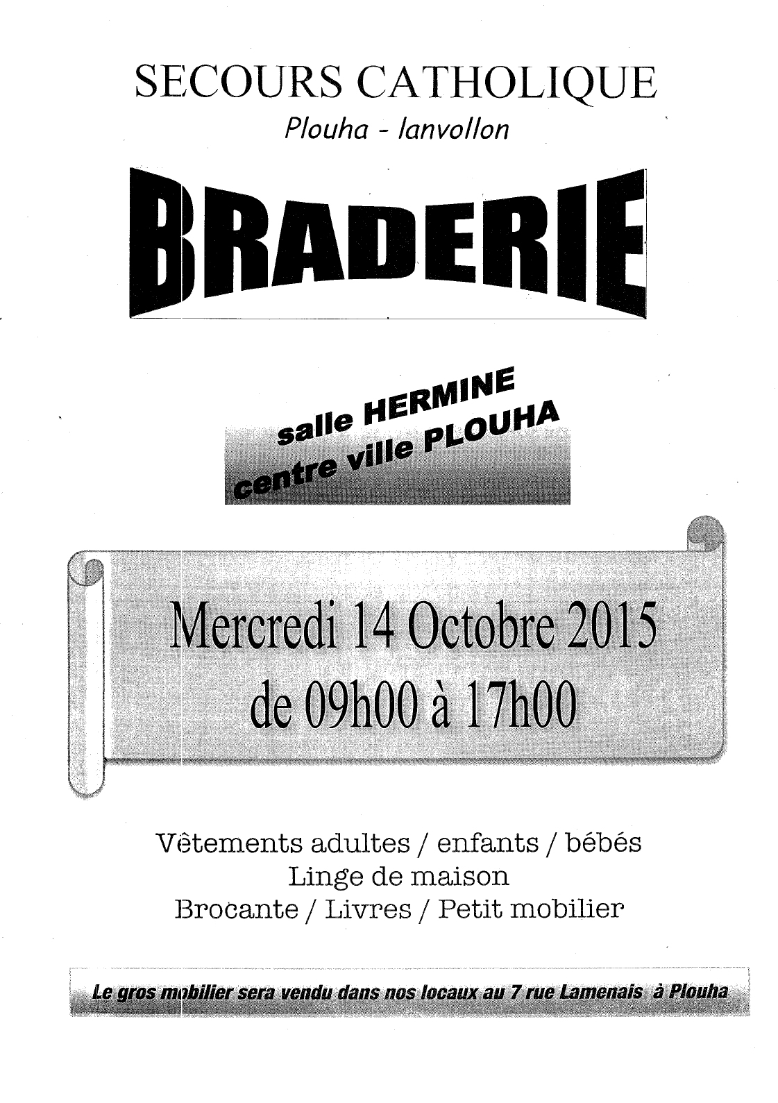 SECOURS CATHOLIQUE PLOUHA LANVOLLON Braderie 14-10-2015